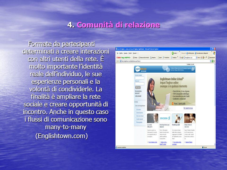 4. Comunità di relazione Formate da partecipanti determinati a creare interazioni con altri utenti della rete. È molto importante l'identità reale del
