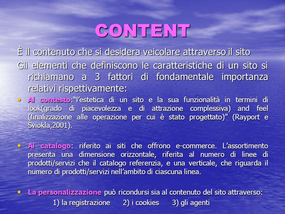 CONTENT È il contenuto che si desidera veicolare attraverso il sito Gli elementi che definiscono le caratteristiche di un sito si richiamano a 3 fatto