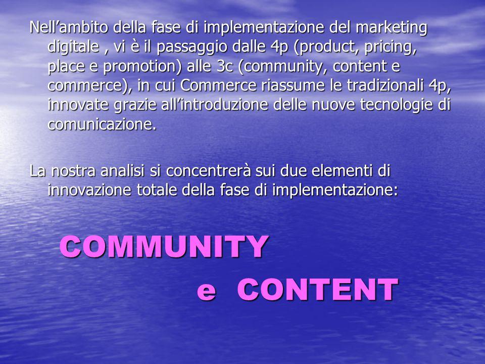 Nell'ambito della fase di implementazione del marketing digitale, vi è il passaggio dalle 4p (product, pricing, place e promotion) alle 3c (community,