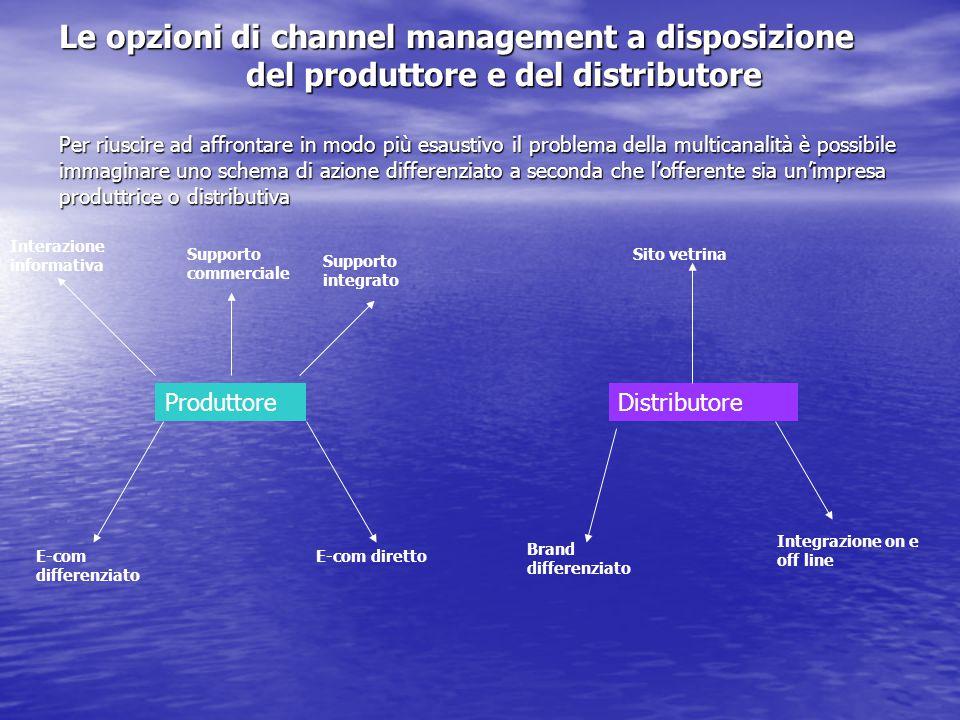 Le opzioni di channel management a disposizione del produttore e del distributore Per riuscire ad affrontare in modo più esaustivo il problema della m