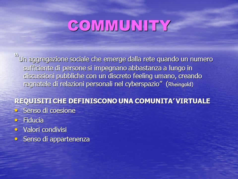 """COMMUNITY """" Un aggregazione sociale che emerge dalla rete quando un numero sufficiente di persone si impegnano abbastanza a lungo in discussioni pubbl"""