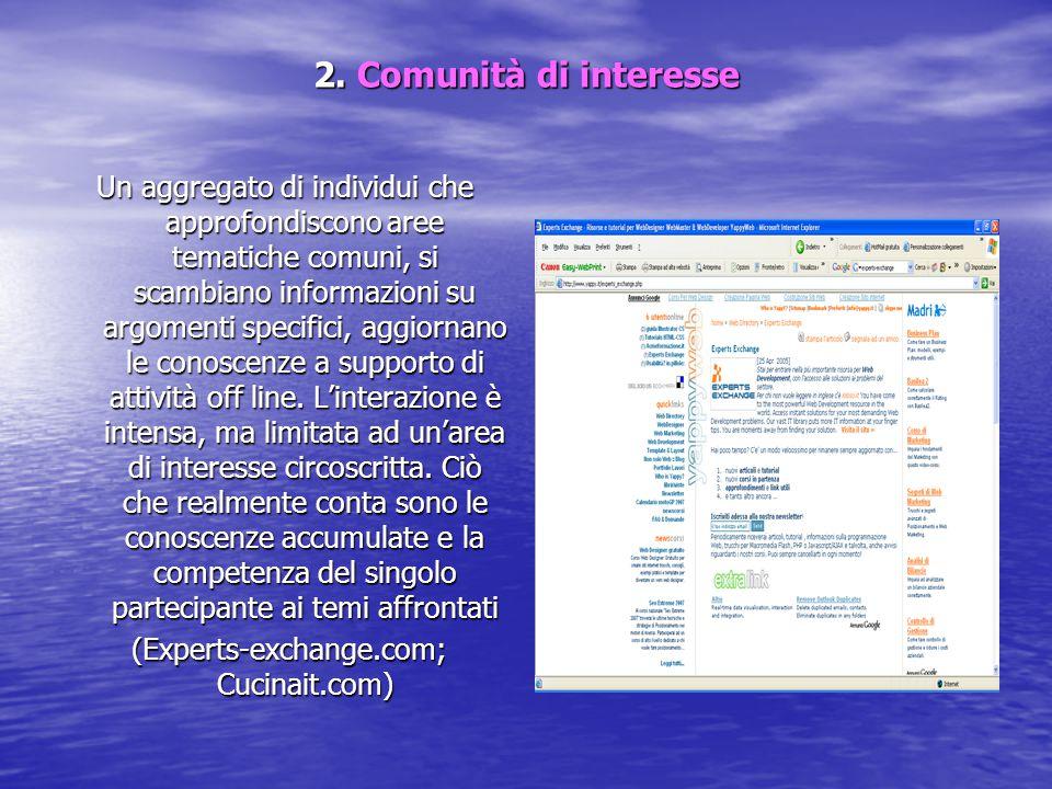 2. Comunità di interesse Un aggregato di individui che approfondiscono aree tematiche comuni, si scambiano informazioni su argomenti specifici, aggior
