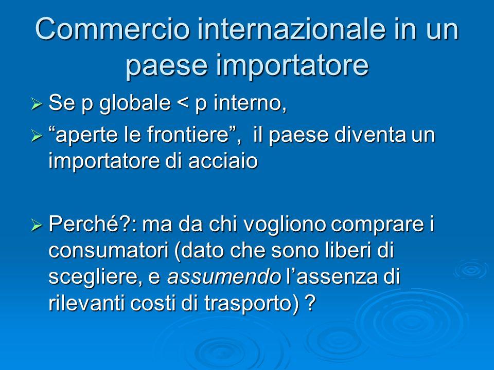 """Commercio internazionale in un paese importatore  Se p globale < p interno,  """"aperte le frontiere"""", il paese diventa un importatore di acciaio  Per"""