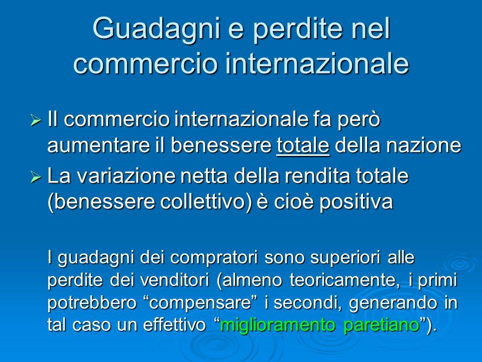 Guadagni e perdite nel commercio internazionale  Il commercio internazionale fa però aumentare il benessere totale della nazione  La variazione nett