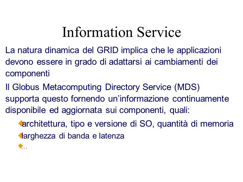 Information Service La natura dinamica del GRID implica che le applicazioni devono essere in grado di adattarsi ai cambiamenti dei componenti Il Globu