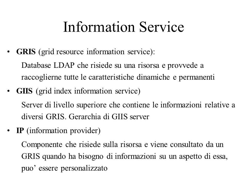 Information Service GRIS (grid resource information service): Database LDAP che risiede su una risorsa e provvede a raccoglierne tutte le caratteristi