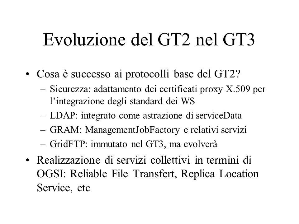 Evoluzione del GT2 nel GT3 Cosa è successo ai protocolli base del GT2? –Sicurezza: adattamento dei certificati proxy X.509 per l'integrazione degli st