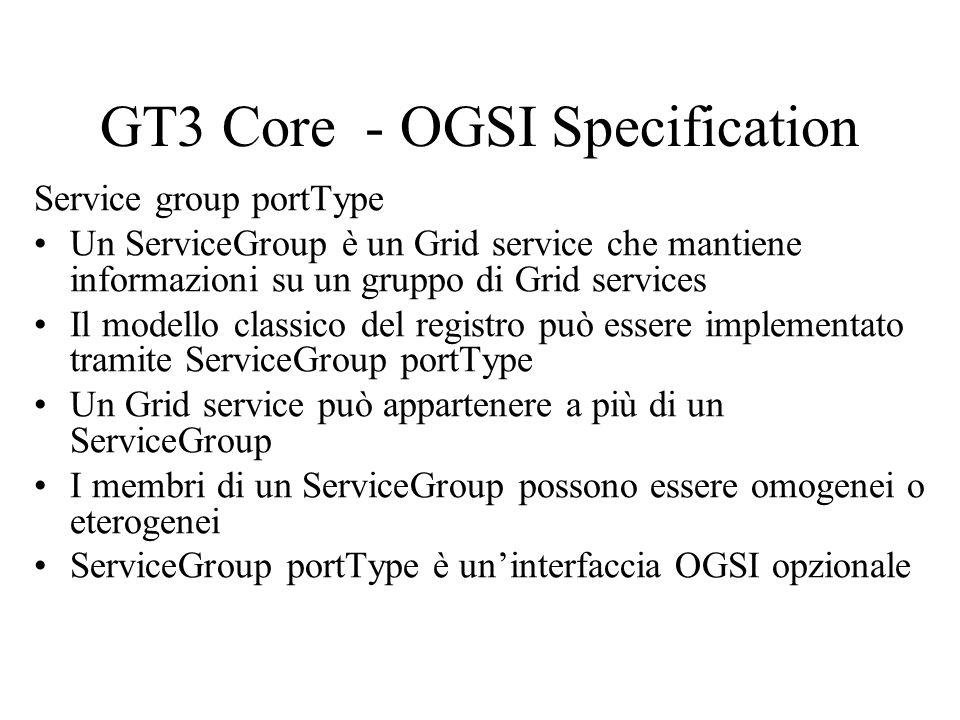 GT3 Core - OGSI Specification Service group portType Un ServiceGroup è un Grid service che mantiene informazioni su un gruppo di Grid services Il mode