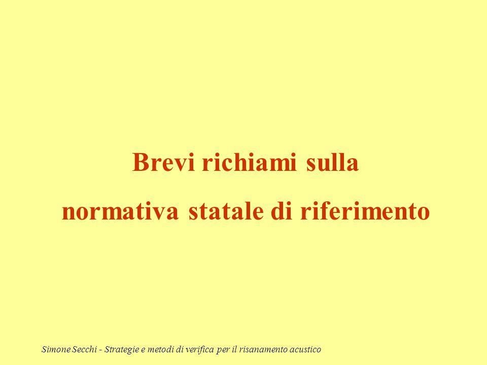 Simone Secchi - Strategie e metodi di verifica per il risanamento acustico Brevi richiami sulla normativa statale di riferimento