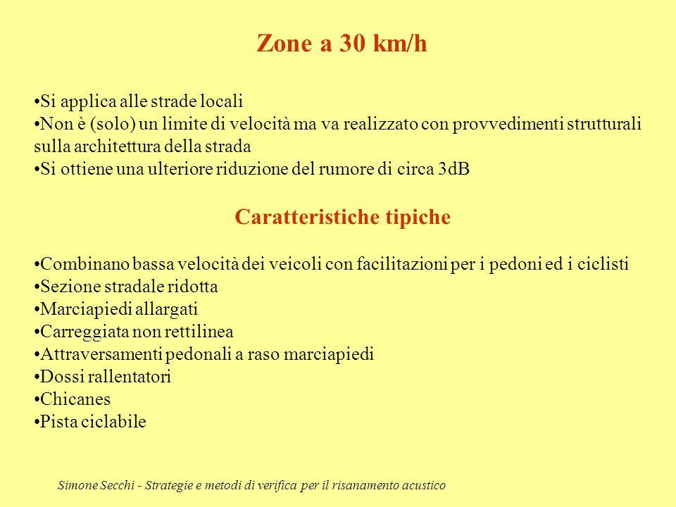Simone Secchi - Strategie e metodi di verifica per il risanamento acustico Zone a 30 km/h Si applica alle strade locali Non è (solo) un limite di velo