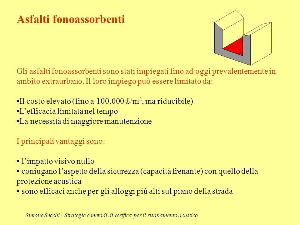 Simone Secchi - Strategie e metodi di verifica per il risanamento acustico Asfalti fonoassorbenti Gli asfalti fonoassorbenti sono stati impiegati fino
