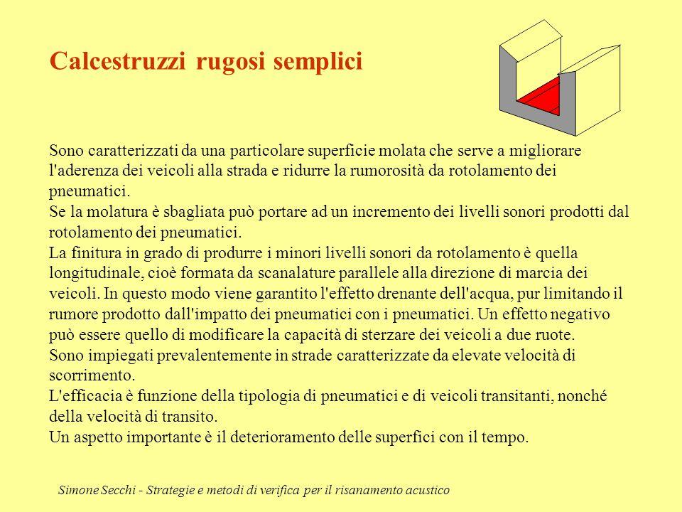 Simone Secchi - Strategie e metodi di verifica per il risanamento acustico Calcestruzzi rugosi semplici Sono caratterizzati da una particolare superfi