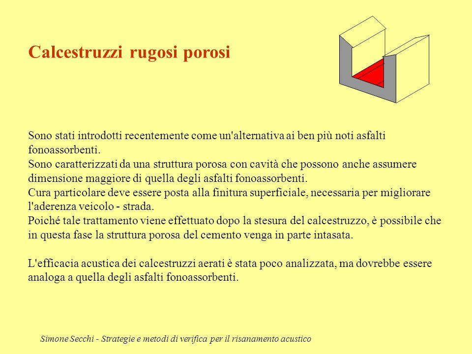 Simone Secchi - Strategie e metodi di verifica per il risanamento acustico Calcestruzzi rugosi porosi Sono stati introdotti recentemente come un'alter