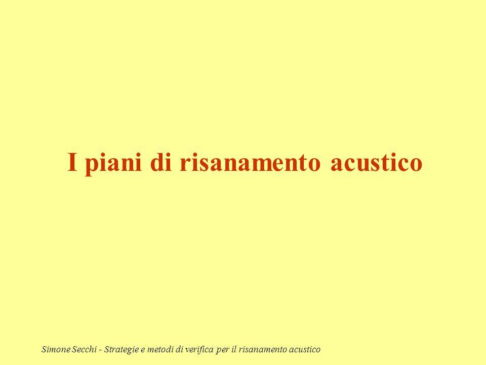 Simone Secchi - Strategie e metodi di verifica per il risanamento acustico I piani di risanamento acustico