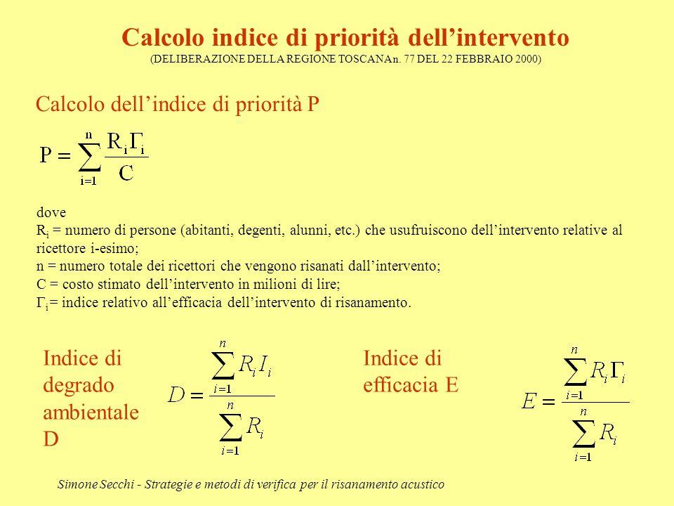 Simone Secchi - Strategie e metodi di verifica per il risanamento acustico Calcolo indice di priorità dell'intervento (DELIBERAZIONE DELLA REGIONE TOS