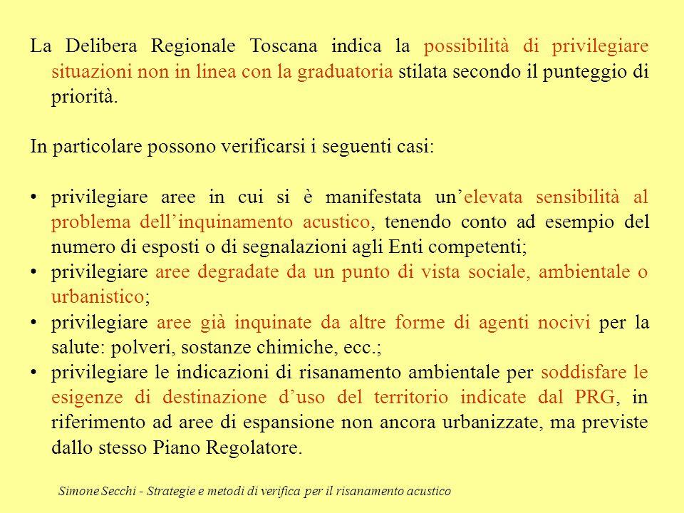 Simone Secchi - Strategie e metodi di verifica per il risanamento acustico La Delibera Regionale Toscana indica la possibilità di privilegiare situazi