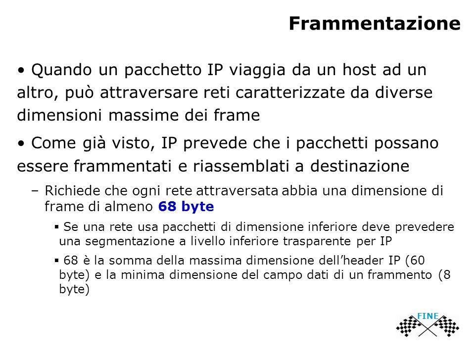 Frammentazione Quando un pacchetto IP viaggia da un host ad un altro, può attraversare reti caratterizzate da diverse dimensioni massime dei frame Come già visto, IP prevede che i pacchetti possano essere frammentati e riassemblati a destinazione –Richiede che ogni rete attraversata abbia una dimensione di frame di almeno 68 byte  Se una rete usa pacchetti di dimensione inferiore deve prevedere una segmentazione a livello inferiore trasparente per IP  68 è la somma della massima dimensione dell'header IP (60 byte) e la minima dimensione del campo dati di un frammento (8 byte) FINE