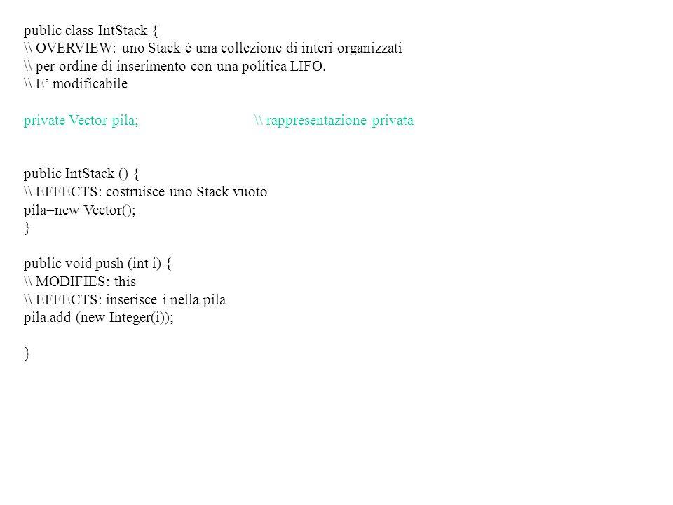 public class IntStack { \\ OVERVIEW: uno Stack è una collezione di interi organizzati \\ per ordine di inserimento con una politica LIFO.