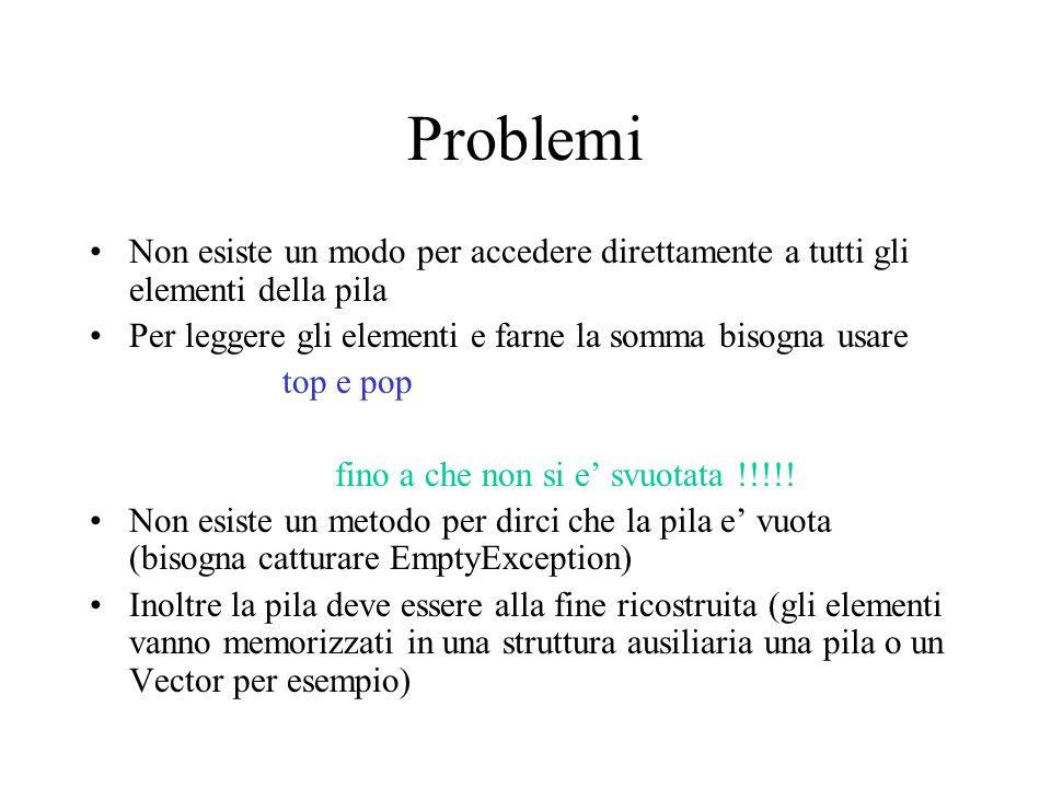 Problemi Non esiste un modo per accedere direttamente a tutti gli elementi della pila Per leggere gli elementi e farne la somma bisogna usare top e pop fino a che non si e' svuotata !!!!.
