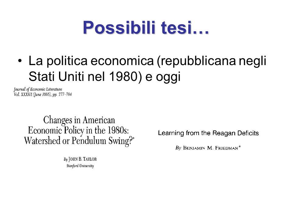 Possibili tesi… La politica economica (repubblicana negli Stati Uniti nel 1980) e oggi