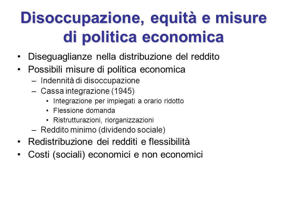 Disoccupazione, equità e misure di politica economica Diseguaglianze nella distribuzione del reddito Possibili misure di politica economica –Indennità