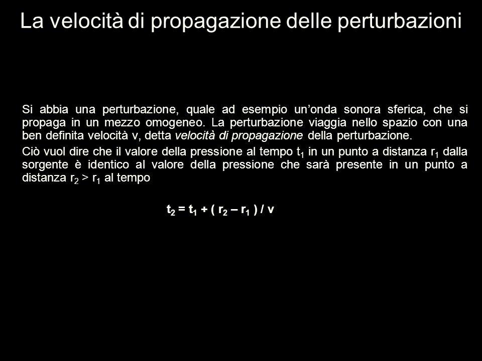 La velocità di propagazione delle perturbazioni Si abbia una perturbazione, quale ad esempio un'onda sonora sferica, che si propaga in un mezzo omogen