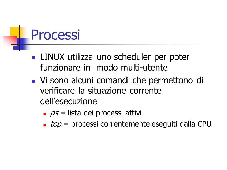 Processi LINUX utilizza uno scheduler per poter funzionare in modo multi-utente Vi sono alcuni comandi che permettono di verificare la situazione corrente dell'esecuzione ps = lista dei processi attivi top = processi correntemente eseguiti dalla CPU
