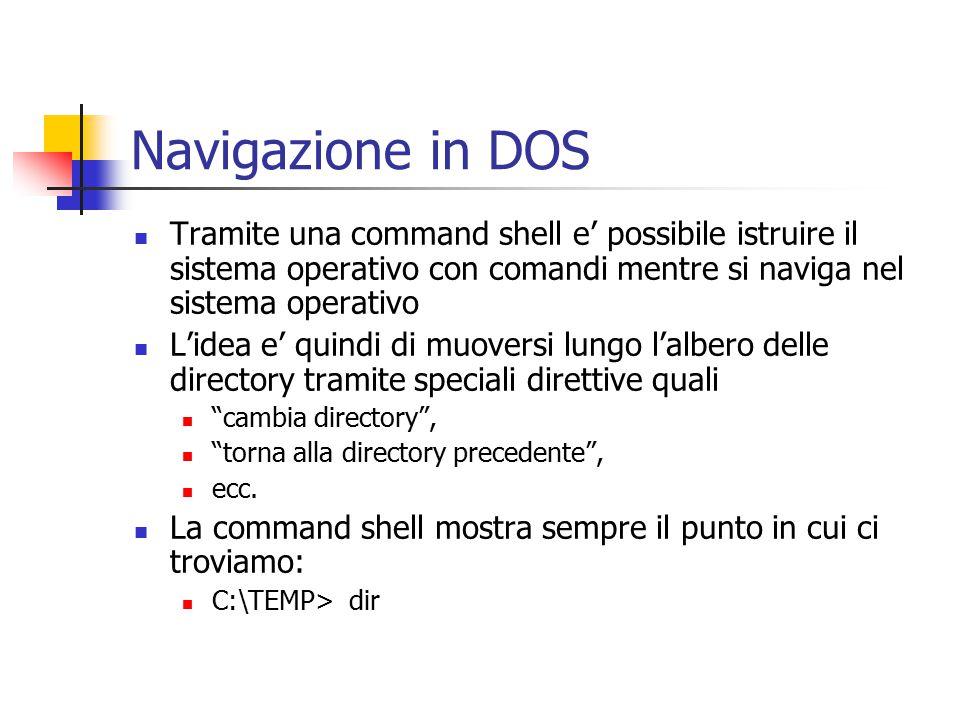 Navigazione in DOS Tramite una command shell e' possibile istruire il sistema operativo con comandi mentre si naviga nel sistema operativo L'idea e' quindi di muoversi lungo l'albero delle directory tramite speciali direttive quali cambia directory , torna alla directory precedente , ecc.
