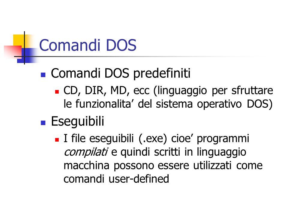 Comandi DOS Comandi DOS predefiniti CD, DIR, MD, ecc (linguaggio per sfruttare le funzionalita' del sistema operativo DOS) Eseguibili I file eseguibili (.exe) cioe' programmi compilati e quindi scritti in linguaggio macchina possono essere utilizzati come comandi user-defined