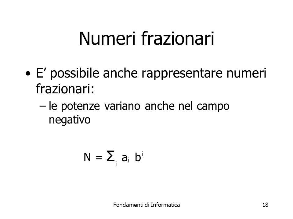 Fondamenti di Informatica18 Numeri frazionari E' possibile anche rappresentare numeri frazionari: –le potenze variano anche nel campo negativo N = Σ a