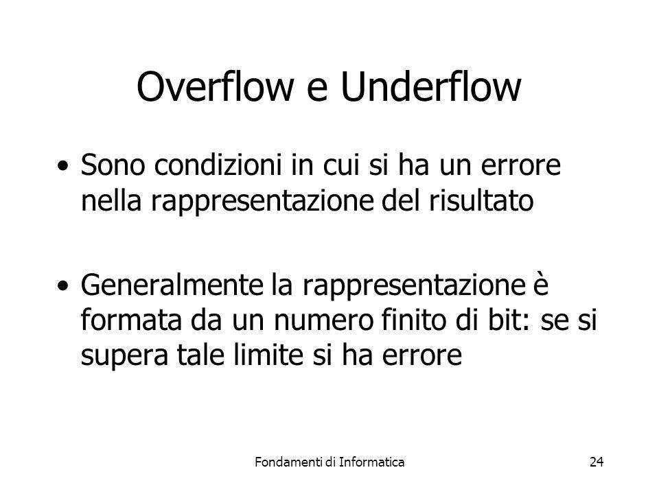 Fondamenti di Informatica24 Overflow e Underflow Sono condizioni in cui si ha un errore nella rappresentazione del risultato Generalmente la rappresen