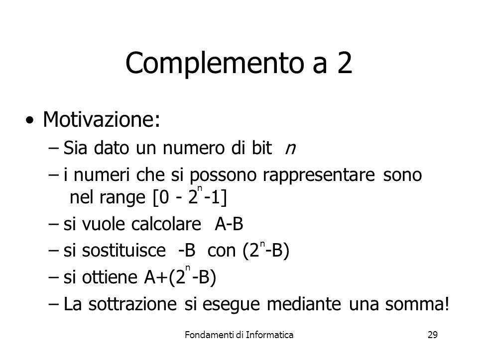 Fondamenti di Informatica29 Complemento a 2 Motivazione: –Sia dato un numero di bit n –i numeri che si possono rappresentare sono nel range [0 - 2 -1]