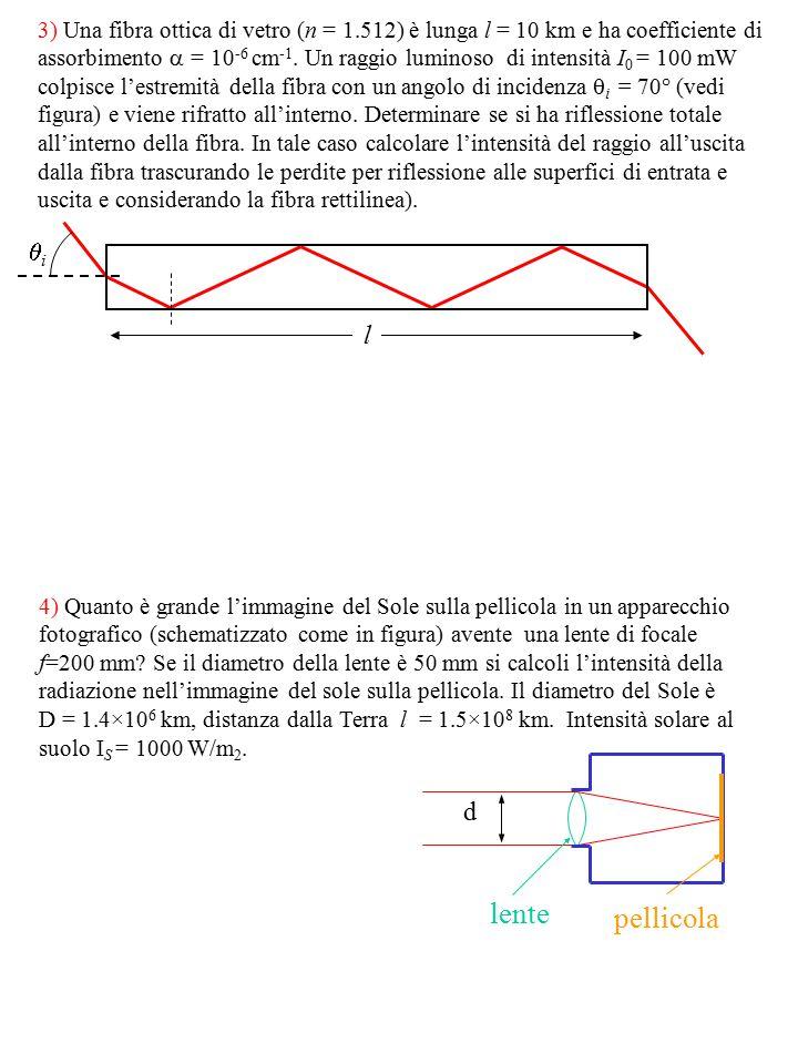 3) Una fibra ottica di vetro (n = 1.512) è lunga l = 10 km e ha coefficiente di assorbimento  = 10 -6 cm -1. Un raggio luminoso di intensità I 0 = 10