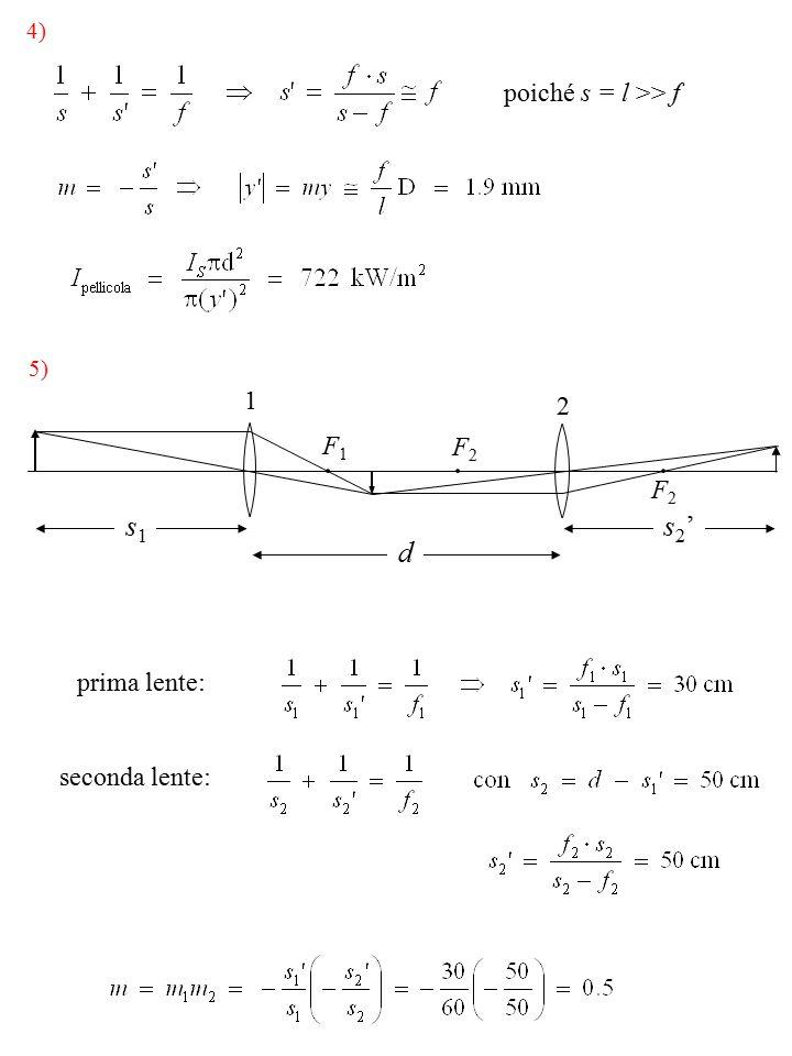 4) poiché s = l >> f 1 2 5) prima lente: seconda lente: s1s1 d s2's2' F1F1 F2F2 F2F2