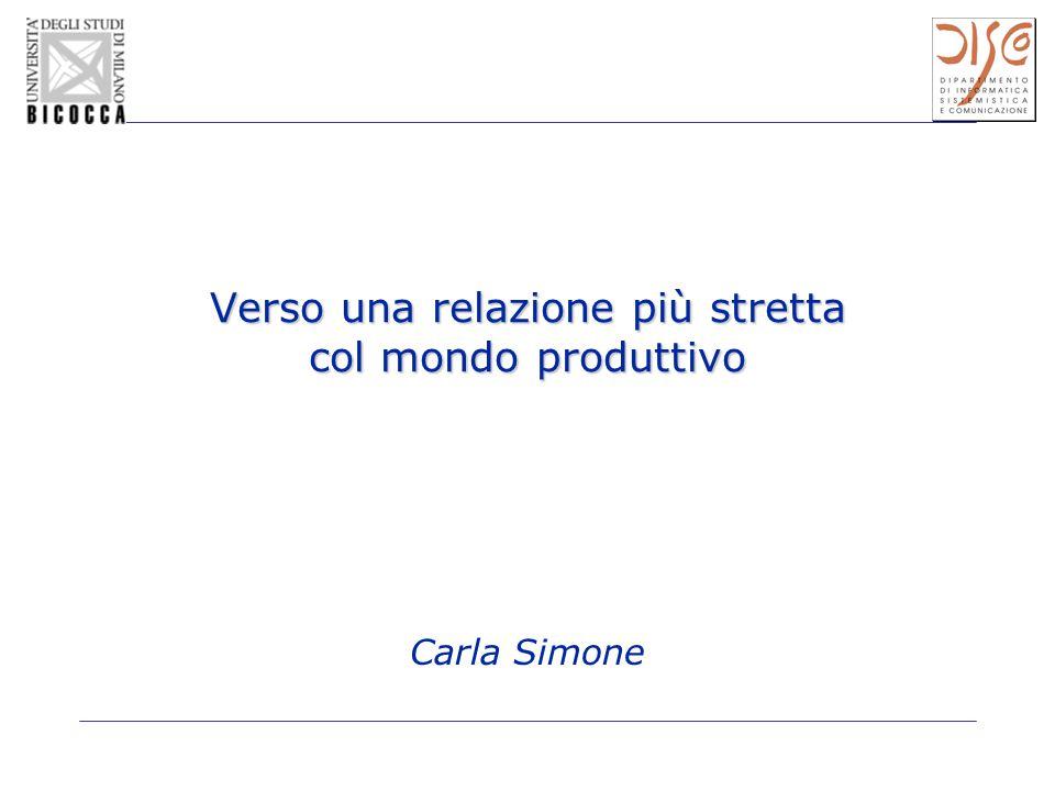 Verso una relazione più stretta col mondo produttivo Carla Simone