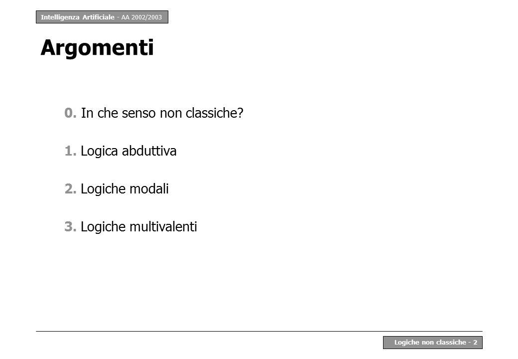 Intelligenza Artificiale - AA 2002/2003 Logiche non classiche - 2 Argomenti 0.