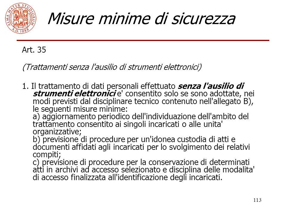 113 Misure minime di sicurezza Art. 35 (Trattamenti senza l'ausilio di strumenti elettronici) 1. Il trattamento di dati personali effettuato senza l'a