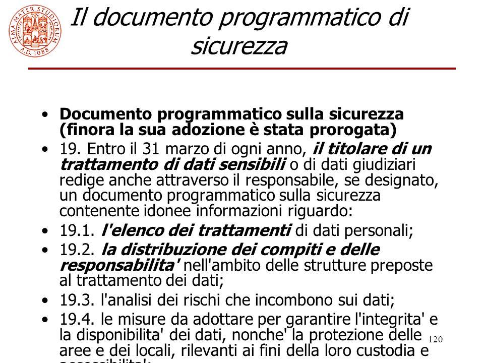 120 Il documento programmatico di sicurezza Documento programmatico sulla sicurezza (finora la sua adozione è stata prorogata) 19. Entro il 31 marzo d