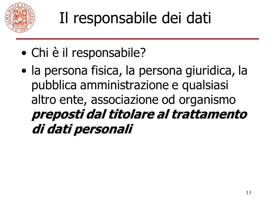 13 Il responsabile dei dati Chi è il responsabile? preposti dal titolare al trattamento di dati personalila persona fisica, la persona giuridica, la p