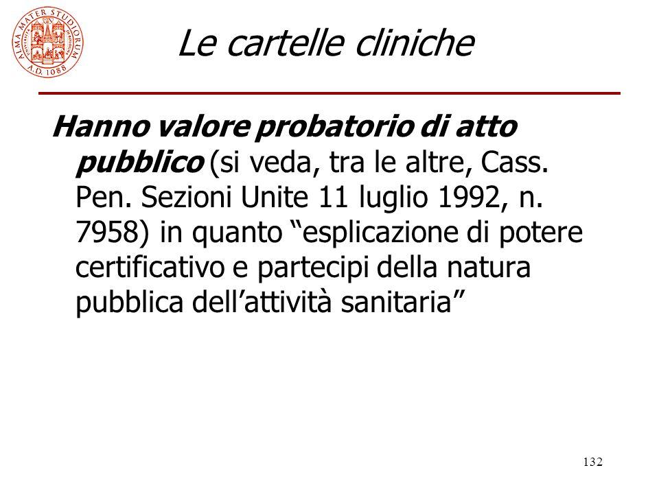 132 Le cartelle cliniche Hanno valore probatorio di atto pubblico (si veda, tra le altre, Cass. Pen. Sezioni Unite 11 luglio 1992, n. 7958) in quanto