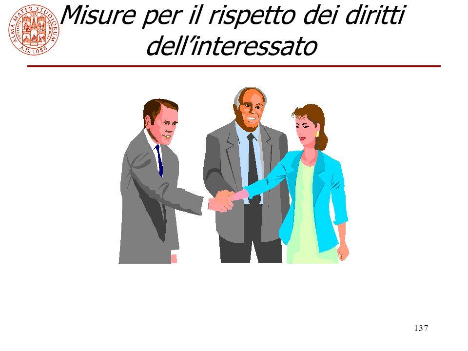 137 Misure per il rispetto dei diritti dell'interessato