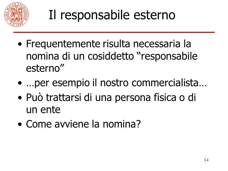 """14 Il responsabile esterno Frequentemente risulta necessaria la nomina di un cosiddetto """"responsabile esterno"""" …per esempio il nostro commercialista…"""