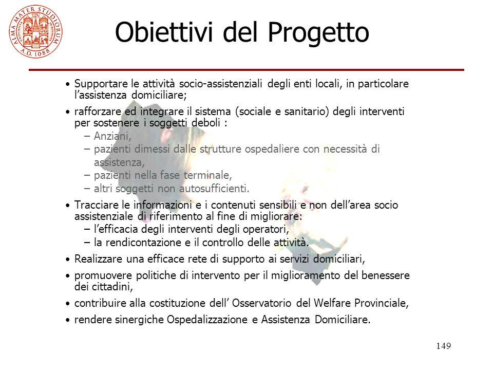 149 Obiettivi del Progetto Supportare le attività socio-assistenziali degli enti locali, in particolare l'assistenza domiciliare; rafforzare ed integr