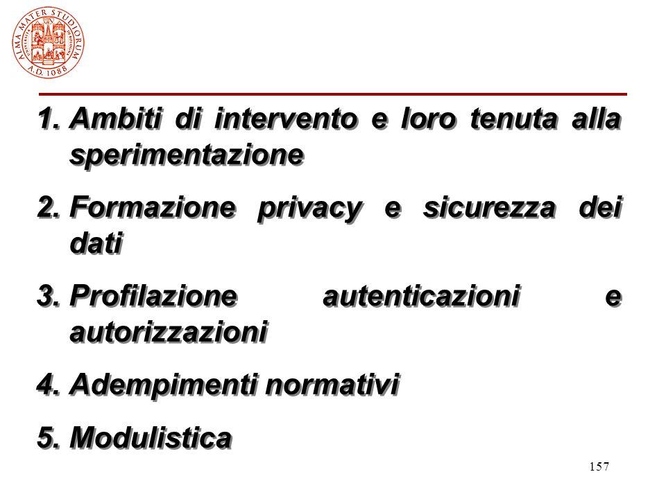 157 1.Ambiti di intervento e loro tenuta alla sperimentazione 2.Formazione privacy e sicurezza dei dati 3.Profilazione autenticazioni e autorizzazioni