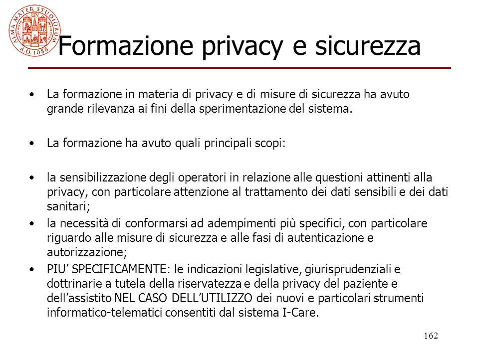 162 Formazione privacy e sicurezza La formazione in materia di privacy e di misure di sicurezza ha avuto grande rilevanza ai fini della sperimentazion