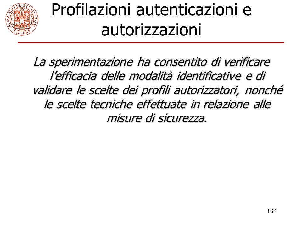 166 Profilazioni autenticazioni e autorizzazioni La sperimentazione ha consentito di verificare l'efficacia delle modalità identificative e di validar