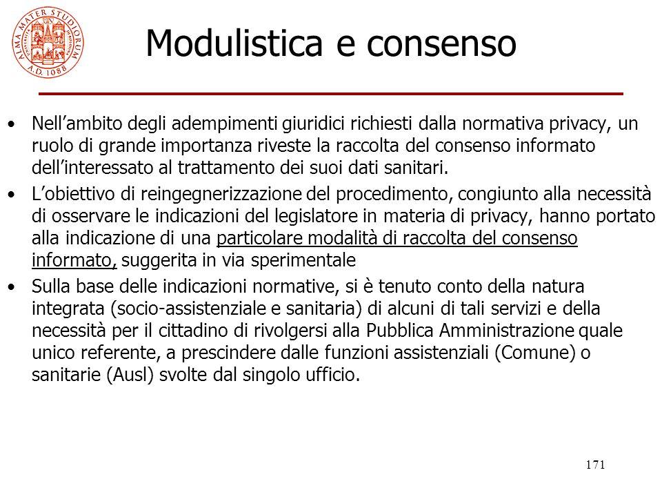 171 Modulistica e consenso Nell'ambito degli adempimenti giuridici richiesti dalla normativa privacy, un ruolo di grande importanza riveste la raccolt