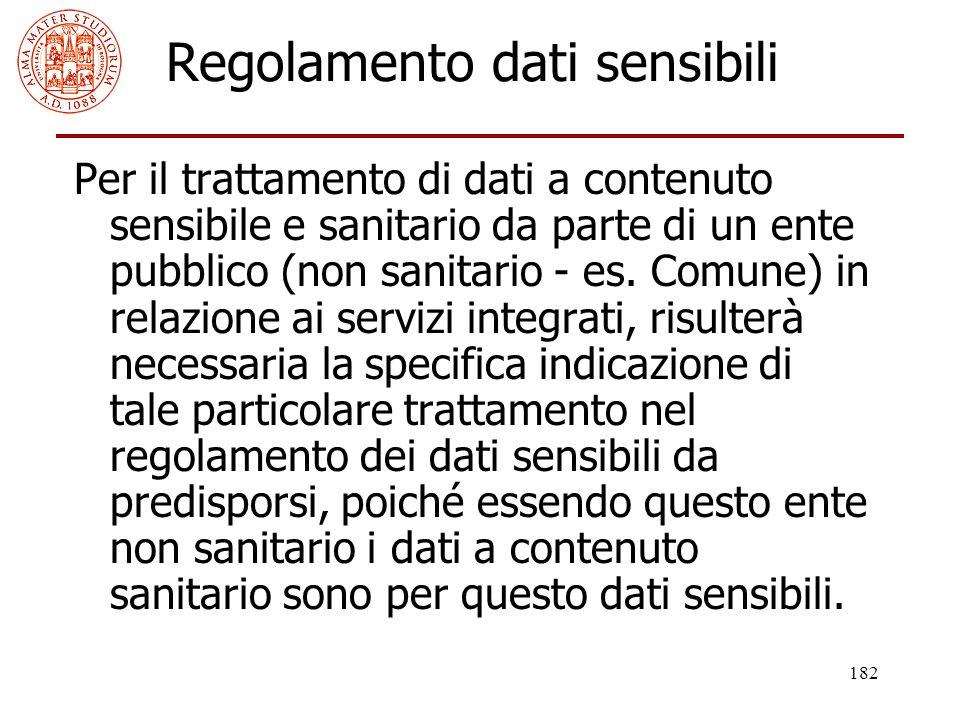 182 Regolamento dati sensibili Per il trattamento di dati a contenuto sensibile e sanitario da parte di un ente pubblico (non sanitario - es. Comune)