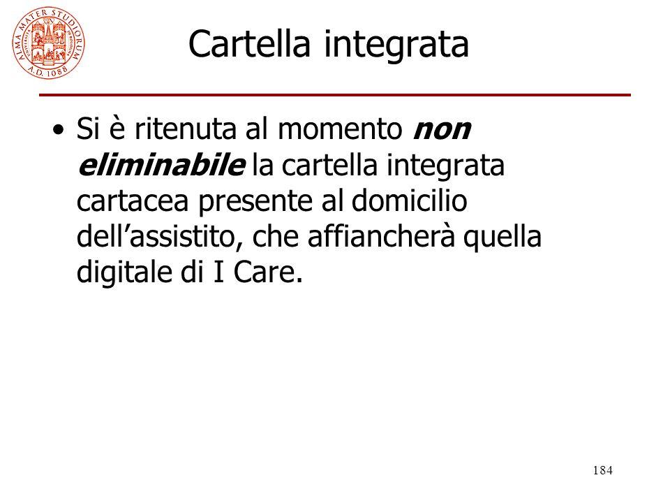 184 Cartella integrata Si è ritenuta al momento non eliminabile la cartella integrata cartacea presente al domicilio dell'assistito, che affiancherà q