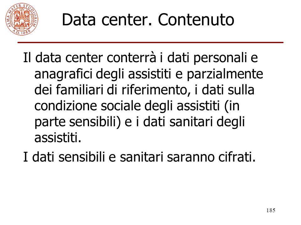 185 Data center. Contenuto Il data center conterrà i dati personali e anagrafici degli assistiti e parzialmente dei familiari di riferimento, i dati s